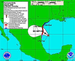 image of Hurricane Dolly's track as of 07/22/08