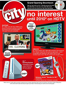 image illustrating Sucker City a magazine spoofing Circuit City's sense of a sale
