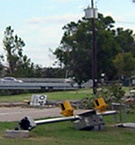 image of down traffic signs and lights after Hurricane Ike