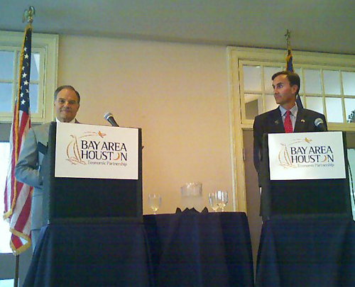 image of debate Democrat Nick Lampson and Republican Pete Olson