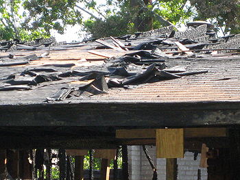 image of roof damage from the fire