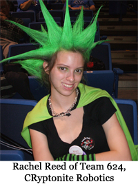 Rachel with her neon green spikes