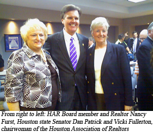 image of Unidentified realtor, Houston state senator Dan Patrick and Vickie Fullerton, chairwoman of the Houston Association of Realtors
