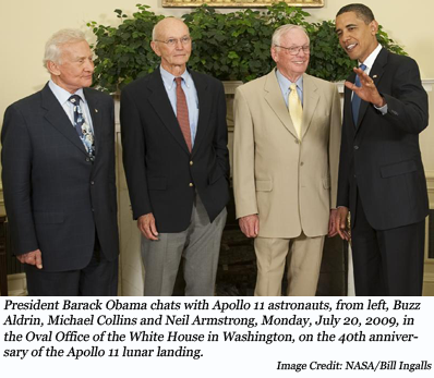 image of President Barack Obama chats with Apollo 11 astronauts, from left, Buzz Aldrin, Michael Collins and Neil Armstrong, Monday, July 20, 2009, in the Oval Office of the White House in Washington, on the 40th anniversary of the Apollo 11 lunar landing. Image