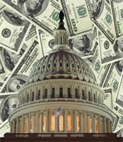 image of US Capitol surrounded by money