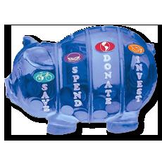 labeled piggy bank