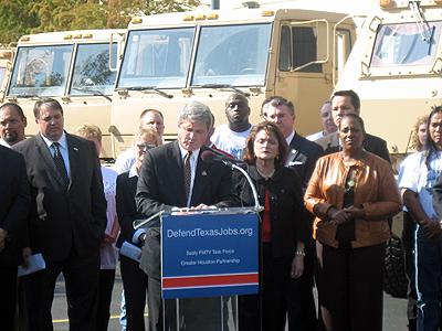 BAE Systems trucks and Congressman Mike McCaul