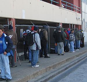 homeless waiting for the shleter to open