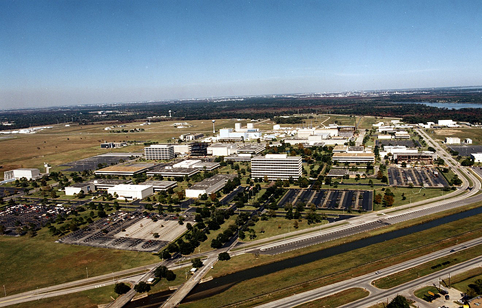Aerial view of Johnson Space Center