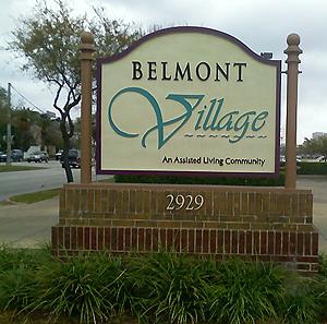 Belmont Village an assited living community sign