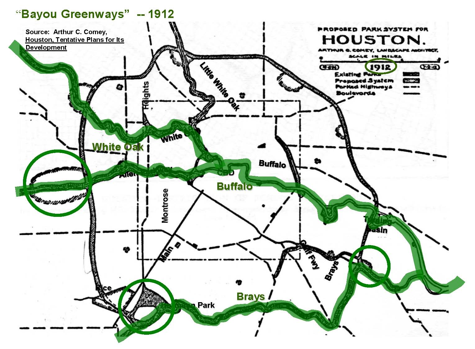 map of Bayou Greenway 1912
