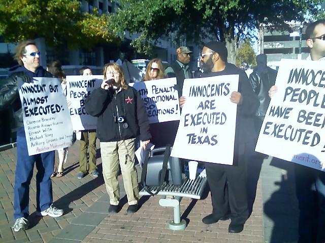 Gloria Rubac and protesters