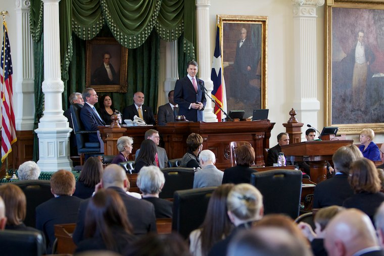 Texas Governor Rick Perry addresses the Senate at the start of the 82nd Legislature at the Texas State Capitol on January 11th, 2011