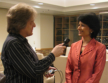 University of Houston Chancellor Renu Khator and KUHF reporter Ed Mayberry