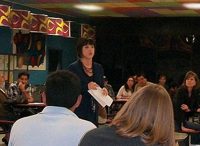 Dr Mina Schnitta speaking to parents