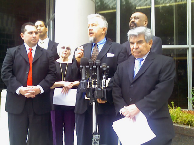 attorney Randall Kallinen, along with Johnny Mata and members of the Greater Houston Coalition for Justice