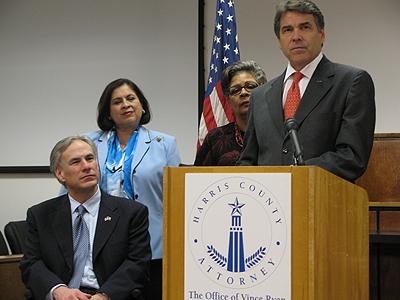 Attorney General Greg Abbott, Senator Leticia Van de Putte, Representative Senfronia Thompson and Governor Rick Perry