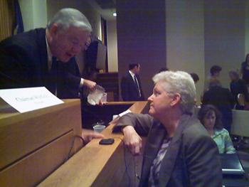 Gina McCarthy of EPA conferring with Texas Congressman Joe Barton