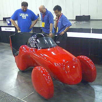 LA Tech students examine their entry the Tech Roadster