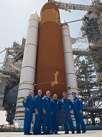 Endeavour crew in front of shuttle