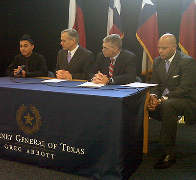 Keanu Rivas, AG Greg Abbott, DPS director Steve McCraw and Kerrick Henny
