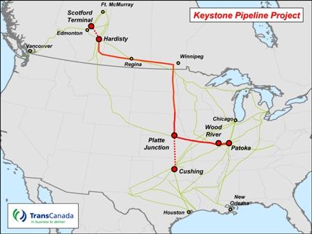 Map of Keystone Pipeline KL