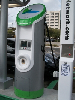 One of the eVgo charging stations being installed at Memorial City Mall