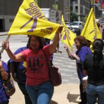 Some 400 Houston janitors continue their strike against contractors who clean the offices of some the wealthiest corporations in the world, but earn less than half the poverty level.