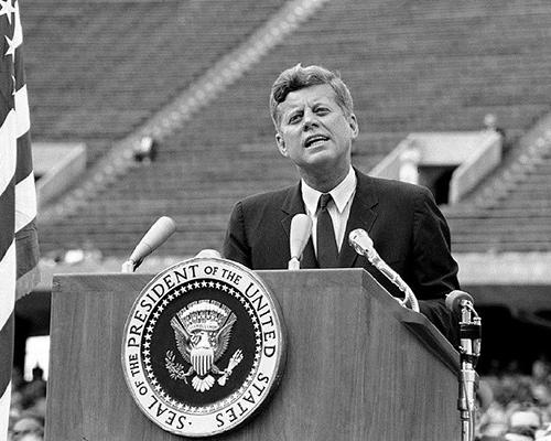 JFK speaking from the podium