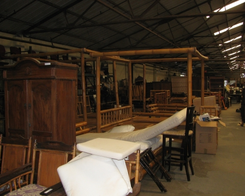 Seth Worstell Warehouse stuffed with R. Allen Stanford's artifacts from his Virgin Islands Estate.
