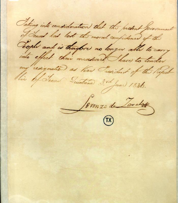 Handwritten letter from Zavala