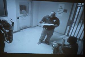 Sandra Bland seen inside Waller County Jail during intake process.