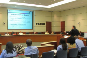 Metro CEO Tom Lambert appears before Board of Directors to discuss developments with Houston's new bus network.