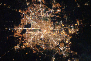 Photo of Houston at night taken by astronauts