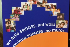 Poster for bilateral conference between American Federation of Teachers and Mexico's teachers union