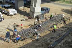 Construction crew at the 610 Loop and U.S. 290 in northwest Houston.