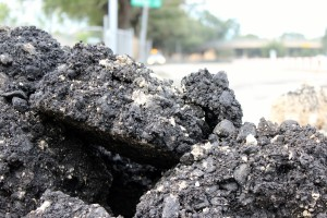 Demolished asphalt pavement from Houston's Allen Parkway