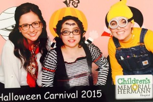 Qirat Chappra (center) celebrates Halloween at a carnival put on by her hospital.