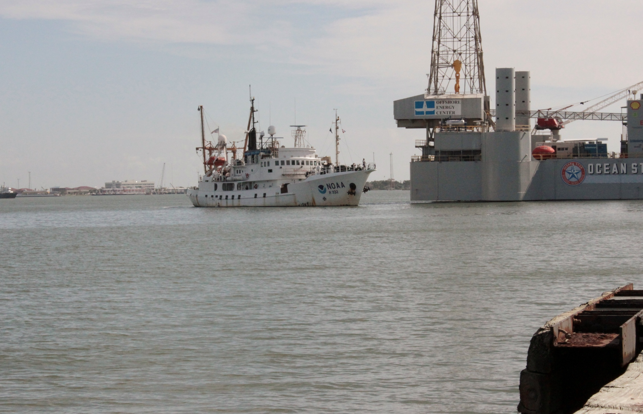 NOAA research ship entering Port of Galveston