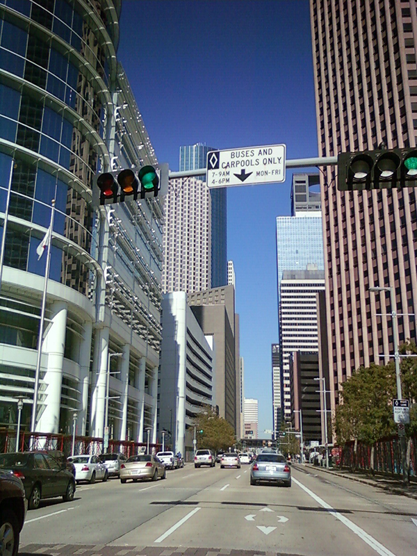 driving in downtown Houston